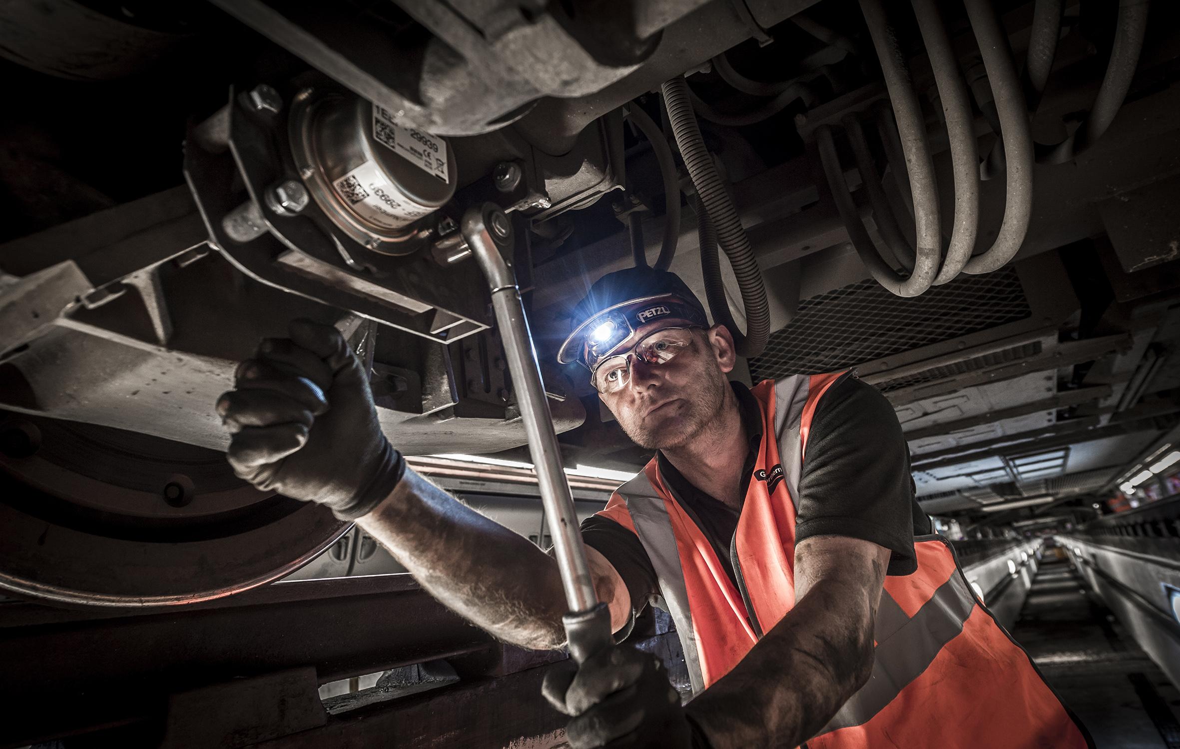 Fitting vibration sensors at Hornsey depot, North London